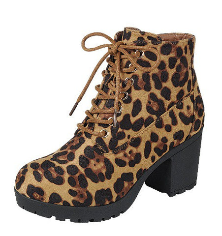 Suede Chunky Heel Ankle Booties - Leopard