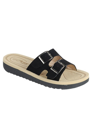 Double Buckle Slip On Sandals - Black