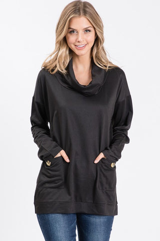 Ninexis Front Pocket Cowl Neck Top - Black