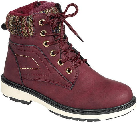 Fleece Lined High Top Timber Boots - Wine