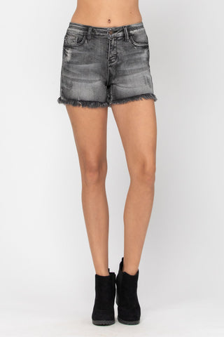 Judy Blue Frey Hem Denim Shorts - Black