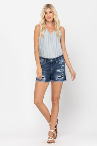 Judy Blue Mid-Rise Patch Shorts - Dark Wash