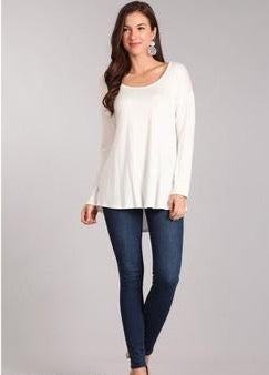 Chris & Carol Long Sleeve Solid Top - Ivory