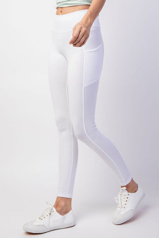Side Pocket Legging-White