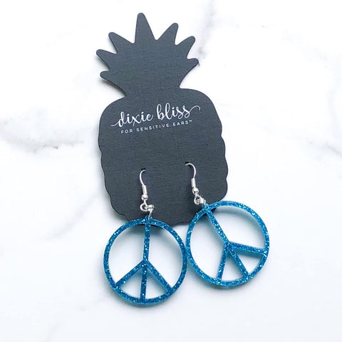 Dixie Bliss Mini Peace Sign Dangle Earrings - Azure