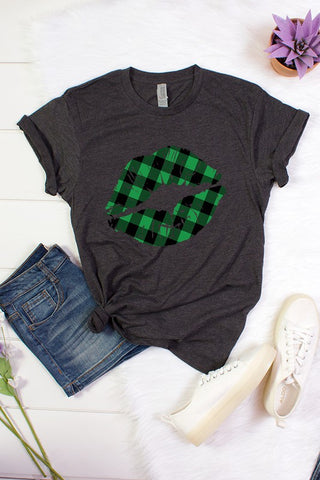 Plaid Lips Short Sleeve Graphic Top - Charcoal