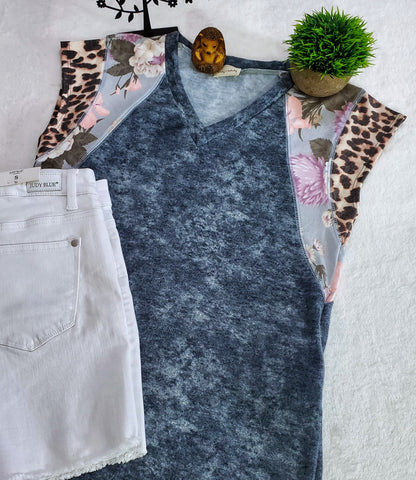 Lovely Melody Raya Tie Dye Top - Navy