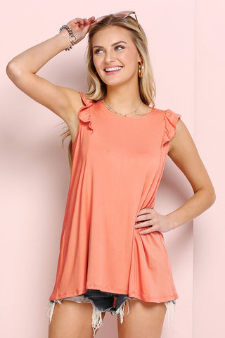Ninexis Ruffled Detail Princess Top - Coral
