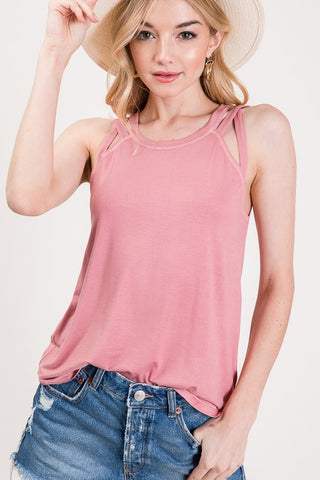 Axis Strappy Shoulder Tank Top - Mauve