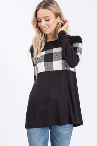Heimish Long Sleeve Plaid Contrast Top - Ivory