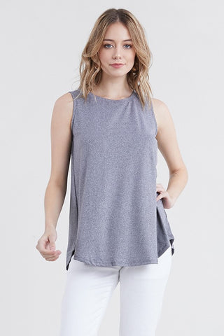 Ninexis Sleeveless Tunic Top - Heather Grey