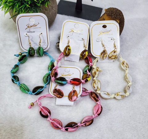 Cowrie Shell Earring & Bracelet Set - Assorted