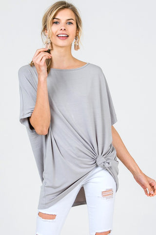 Axis Boat Neck Tunic Top - Grey