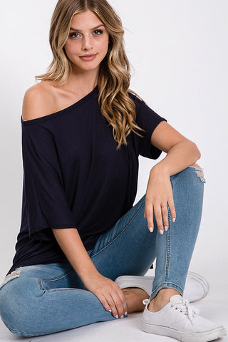 Axis Boat Neck Tunic Top - Black