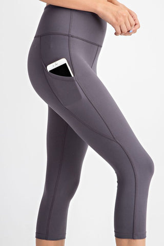 Capri Length Yoga Pants with Pockets-Charcoal