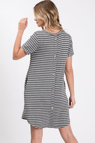 Axis Button Back Scoop Neck Dress - Charcoal