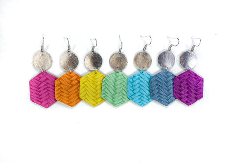 Savvy Bling Leather Dangle Earrings - Braided Hexagons