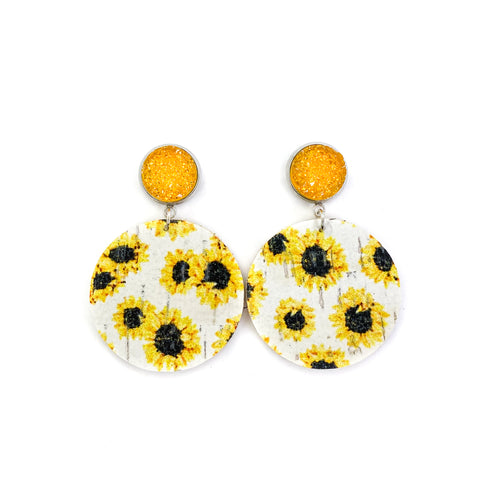 Savvy Bling Leather Dangle Earrings - Sunflower