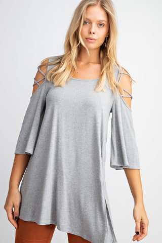 Easel Lace Up Cold Shoulder Tunic Top - Grey