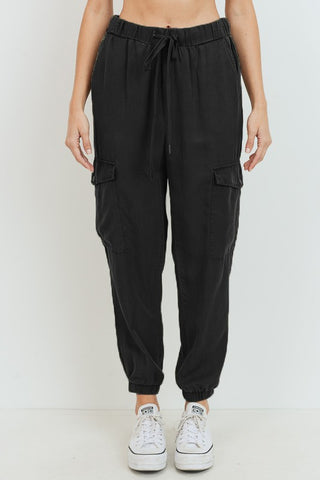 Tencel Cargo Jogger Pants - Black