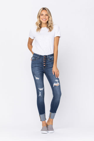 Judy Blue Button Fly Skinny Jeans - Dark Wash