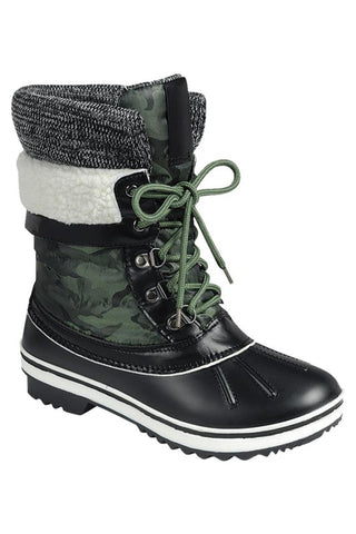 Fur Trimmed Lace Up Boots - Green Camo