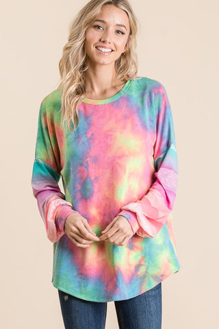 Lovely Melody Tie Dye Pullover - Neon