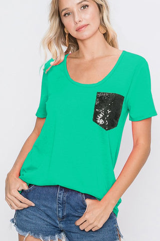 Heimish Sequin Pocket Tunic Top - Green