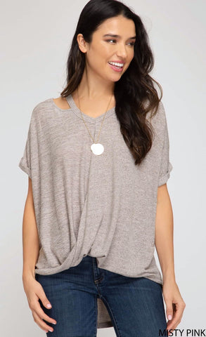 She + Sky Cut Out Neck Detail Top - Misty Pink