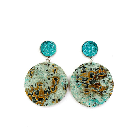Savvy Bling Leather Dangle Earrings - Turquoise Wildwood