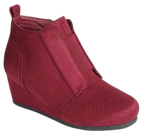Hidden Wedge Bootie Sneaks - Burgundy