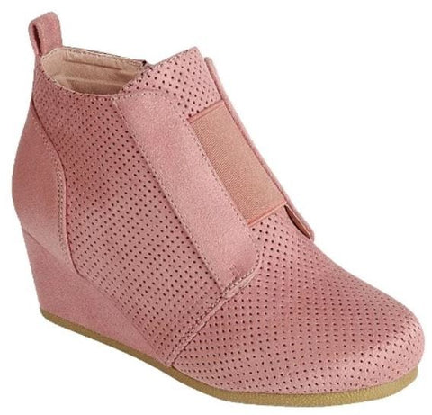 Hidden Wedge Bootie Sneaks - Pink