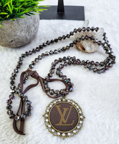LV Upcycled Crystal Bead Necklace - Hematite