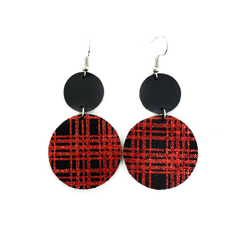 Savvy Bling Leather Dangle Earrings - Red Plaid