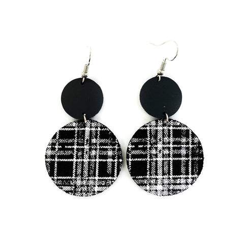 Savvy Bling Leather Dangle Earrings - White Plaid