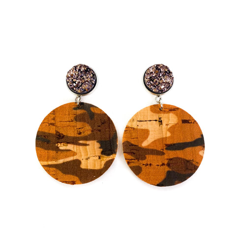 Savvy Bling Leather Dangle Earrings - Rust Camo