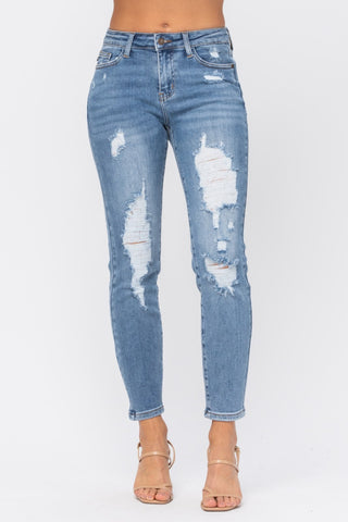 Judy Blue Relaxed Fit High-Rise Jeans - Medium Wash