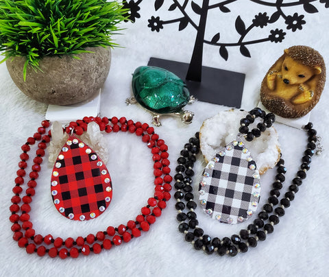 Beaded Plaid Necklace - Assorted