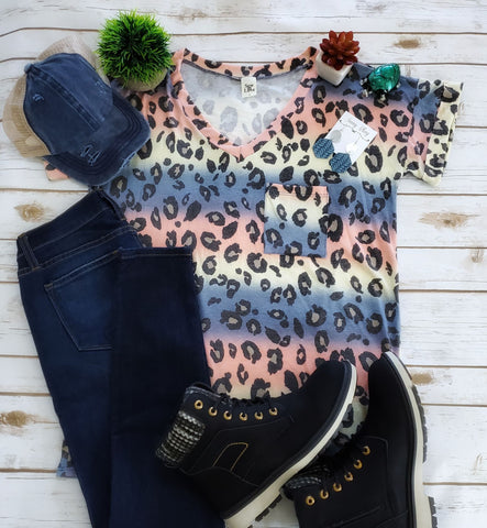 Sew In Love Animal Print Boyfriend Top - Multi