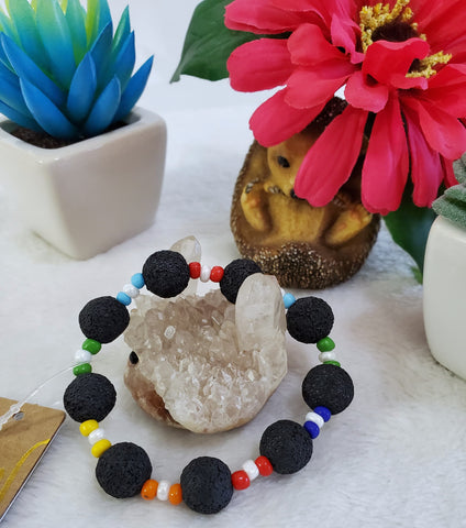 Lava Stone Stretch Bracelet With Multicolor Beads