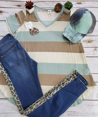 Sew In Love Striped V-Neck Top - Mint
