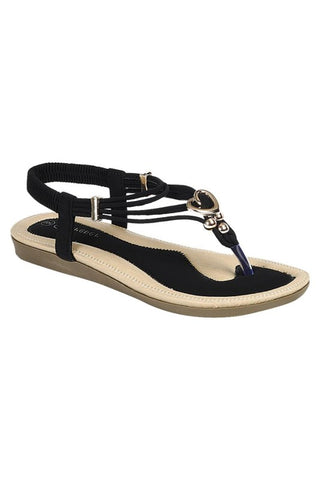 Suede Heart Detail Sandals - Black
