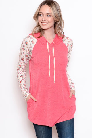 Chris & Carol Floral Accent Pocket Hoodie - Pink