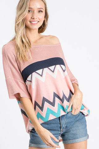 7th Ray Chevron Waffle Knit Top - Pink