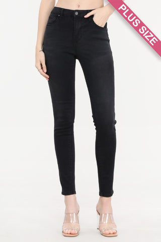 Black Label Plus Mid-Rise Skinny Jeans - Black