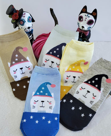 Sleepy Kitty Ankle Socks - Assorted