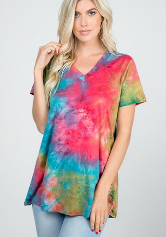 Heimish Tie Dye V-Neck Top - Teal Multi