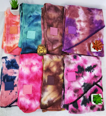CC Tie Dye Rubber Patch Scarves - Assorted