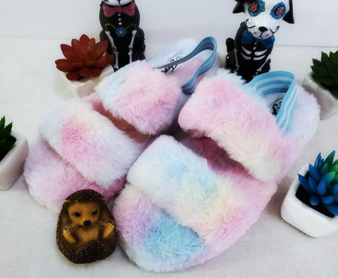 Furry Comfort Slippers - Tie Dye