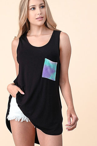 Blumin Pocket Detail Sleeveless Top - Tie Dye